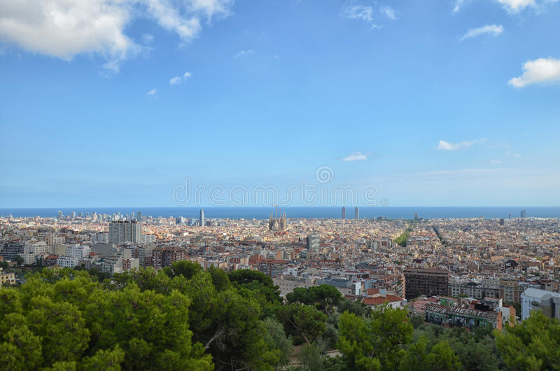 Barcelona skyline. From Parc Guell royalty free stock photos
