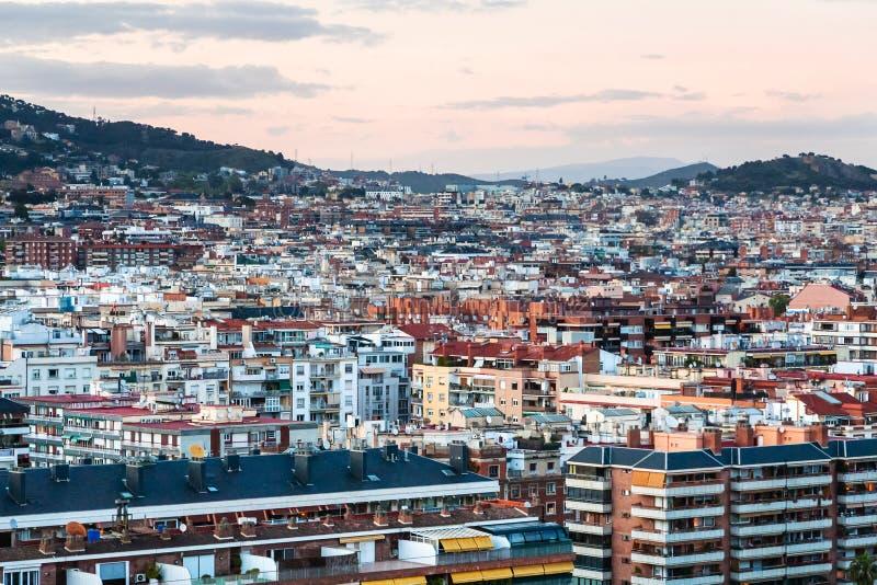 Barcelona skyline in pink evening twilight. Barcelona city skyline in pink evening twilight stock photos