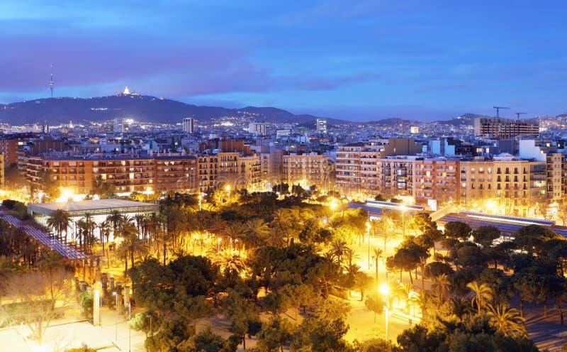 Barcelona skyline from Plaza Espana.  royalty free stock images