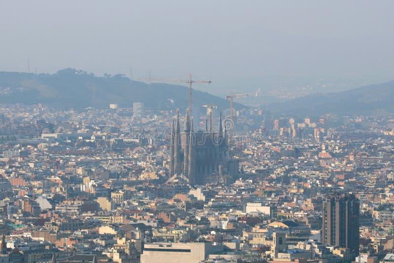 Barcelona skyline and Sagrada Familia, Spain. Barcelona Old City skyline and Sagrada Familia aerial view from Montjuic, Barcelona, Catalonia, Spain. Sagrada Fam stock photography