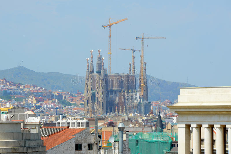Barcelona skyline and Sagrada Familia, Spain stock photography