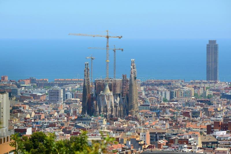 Barcelona skyline and Sagrada Familia, Spain stock images