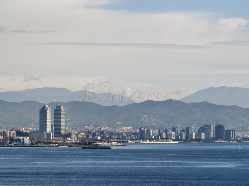 Barcelona skyline  from the sea royalty free stock photography