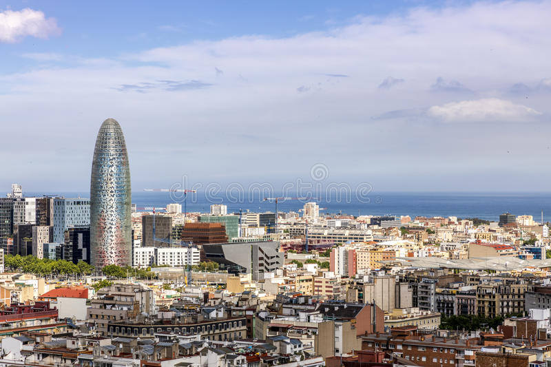 Barcelona skyline with sea stock images