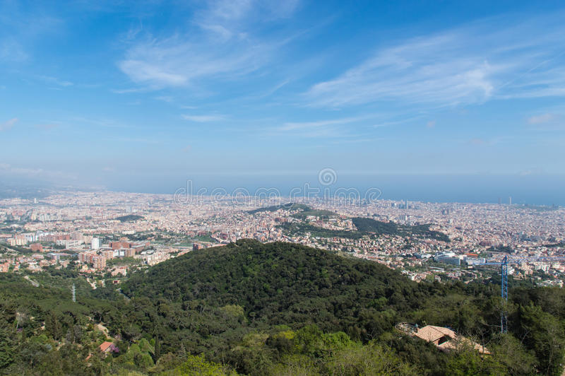 Barcelona Skyline. Shot from hill stock image