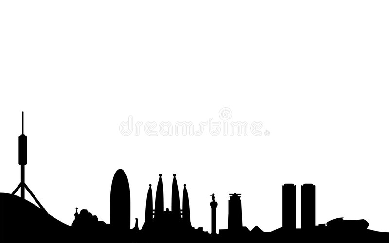 Barcelona skyline silhouette. Vector illustration of spanish city and capital of catalonia barcelona as silhouette with most famous buildings and landmarks