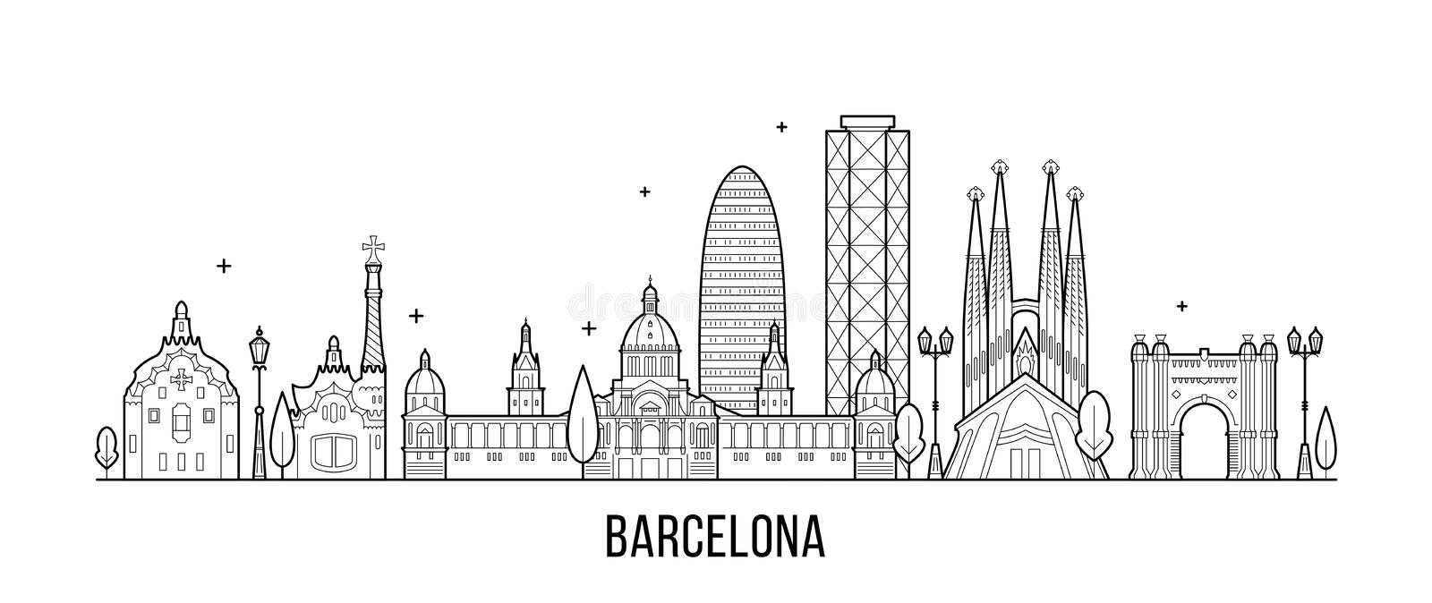Barcelona skyline Spain city buildings vector. Barcelona skyline, Spain. This illustration represents the city with its most notable buildings. Vector is fully vector illustration