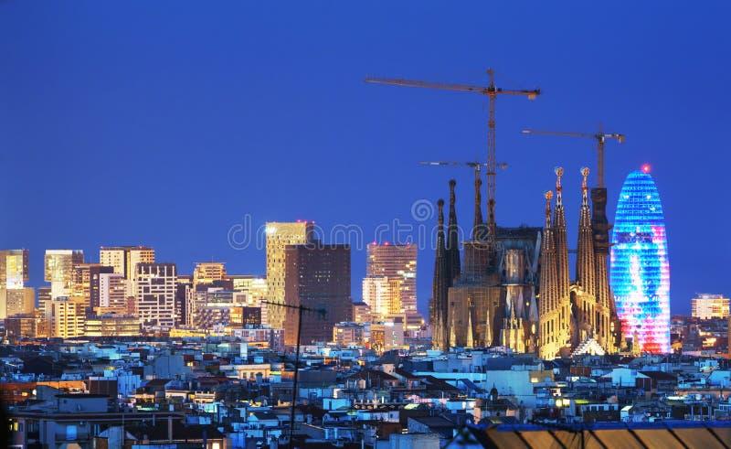 Barcelona skyline, Spain stock images