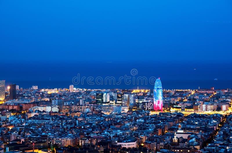 Barcelona skyline, Spain. Barcelona skyline late in the evening, Spain royalty free stock image