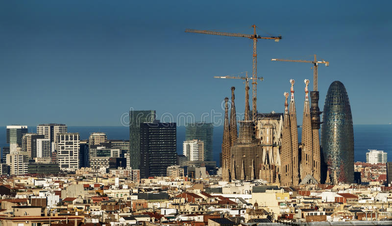 Barcelona skyline, Spain. Barcelona skyline in sunset time, Spain royalty free stock photo