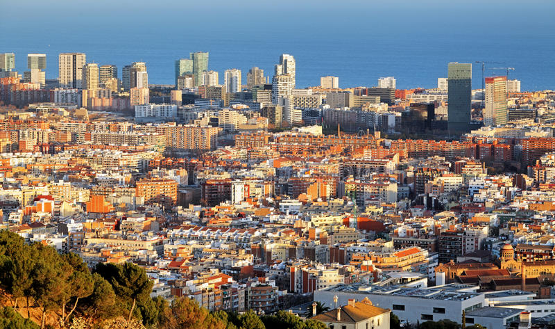 Barcelona skyline at sunset, Spain.  stock image