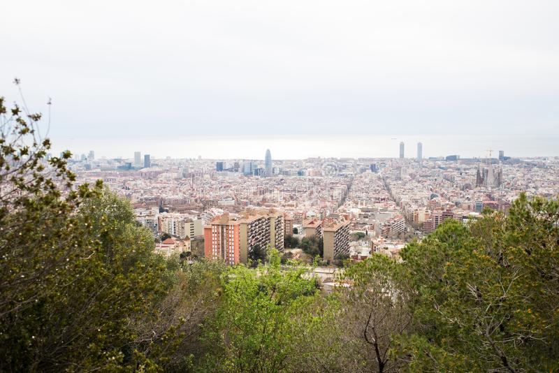 Barcelona skyline. Top view of picturesque Barcelona cityscape. In Cloudy Day. Spain stock photos