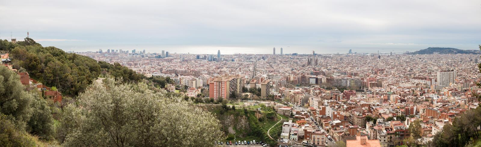 Barcelona Skyline. Top View of Picturesque Barcelona Cityscape i. N Cloudy Day. Spain royalty free stock photos