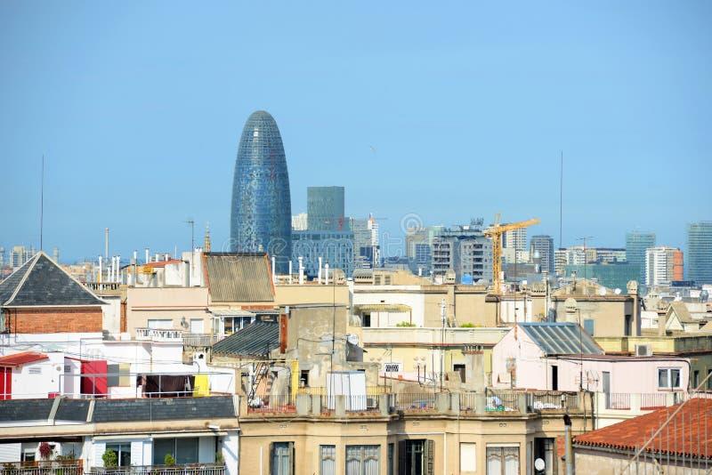 Barcelona skyline and Torre Agbar, Spain stock photos