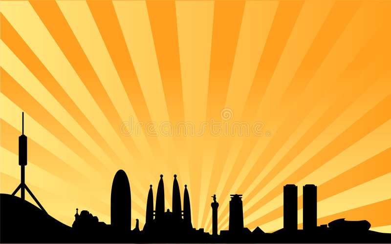 Barcelona skyline vector background. Vectored illustration of city of spain and capital of catalonia barcelona, with most famous monuments and buildings as
