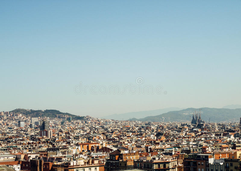 Barcelona skyline view from sunset to night. Barcelona skyline view at sunny summer day royalty free stock photography