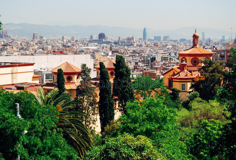 Barcelona skyline view from sunset to night. Barcelona skyline view at sunny summer day stock image