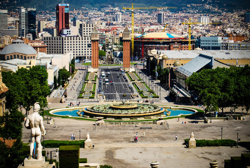 Barcelona skyline view from sunset to night. Barcelona skyline view at sunny summer day stock photo