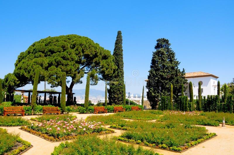 Barcelona, Spain. View of Teatre Grec garden, in Barcelona Spain stock photography