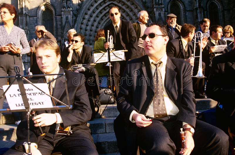 Barcelona, Spain. An orchestra performing outside the Cathedral of Santa Eulalia in Barcelona, Spain royalty free stock photo