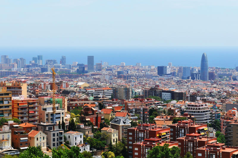 Barcelona, Spain. Aerial view of Barcelona, Spain as seen from the Guell Park royalty free stock photography