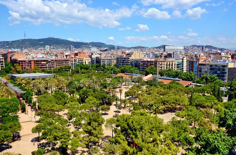 Barcelona Spain. Aerial view of Barcelona in Spain