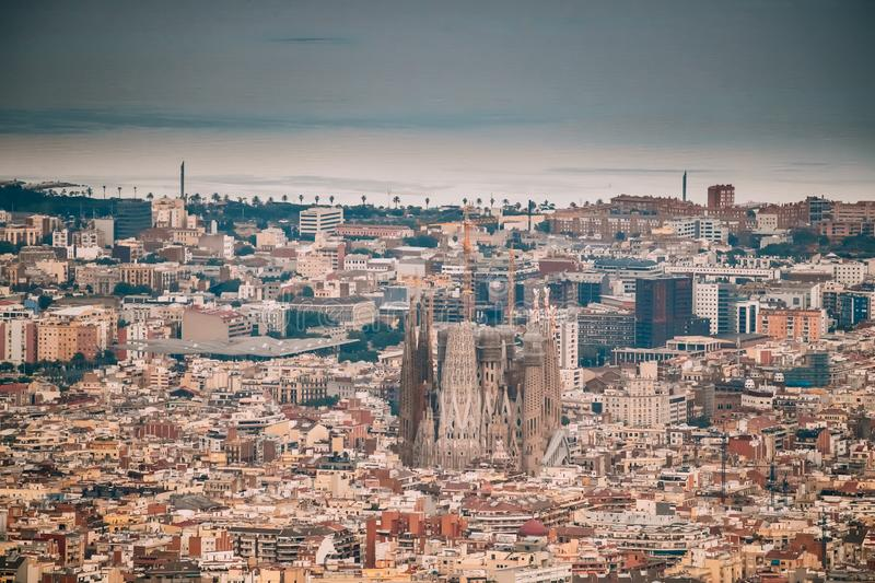 Barcelona, Spain. Aerial View Of City Cityscape. Basilica And Ex royalty free stock images
