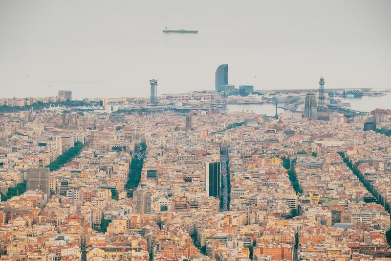 Barcelona, Spain. Aerial View Of Cityscape stock image