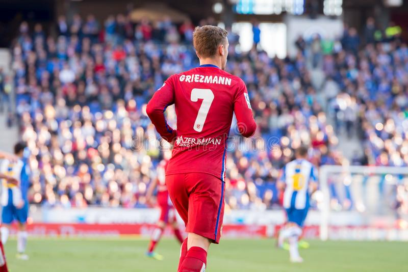 Antoine Griezmann plays at the La Liga match between RCD Espanyol and Atletico de Madrid at the Powerade Stadium. BARCELONA, SPAIN - APR 9: Antoine Griezmann stock images