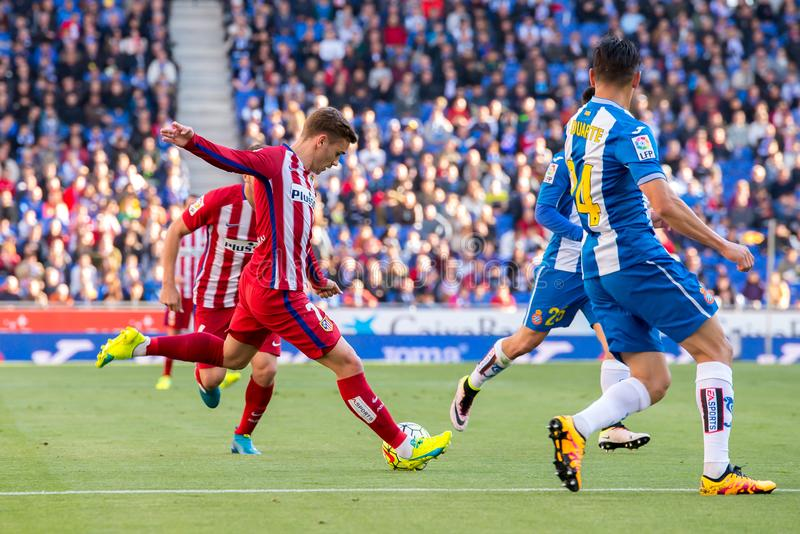 Antoine Griezmann plays at the La Liga match between RCD Espanyol and Atletico de Madrid at the Powerade Stadium. BARCELONA, SPAIN - APR 9: Antoine Griezmann royalty free stock photos