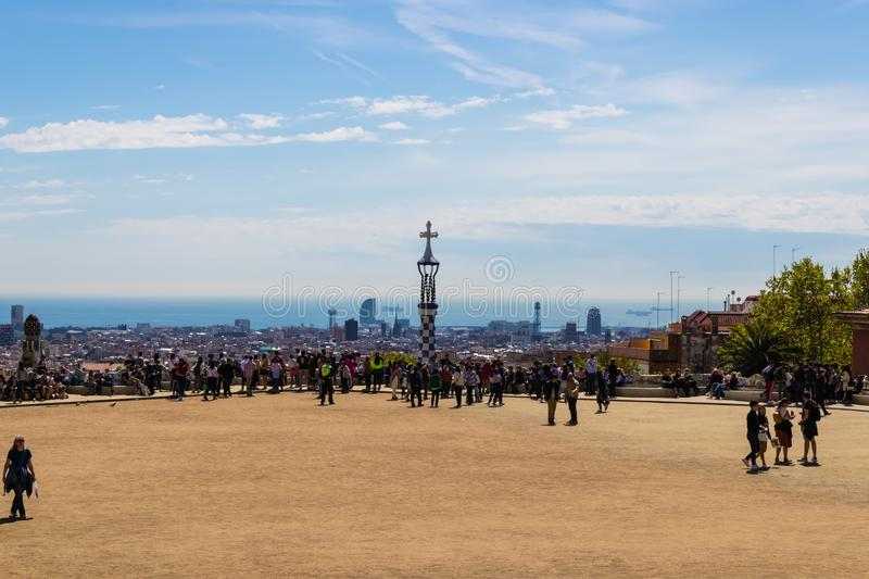 BARCELONA, SPAIN - 20 APRIL 2019: Colorful Park Güell panoramic view with a lot of tourists - Image royalty free stock photography