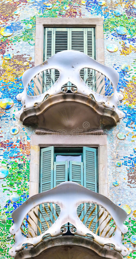 BARCELONA, SPAIN - APRIL 28: Exterior of the Gaudi Casa Batllo on April 28, 2016 in Barcelona, Spain. Exterior of the Gaudi Casa Batllo on April 28, 2016 in royalty free stock photography