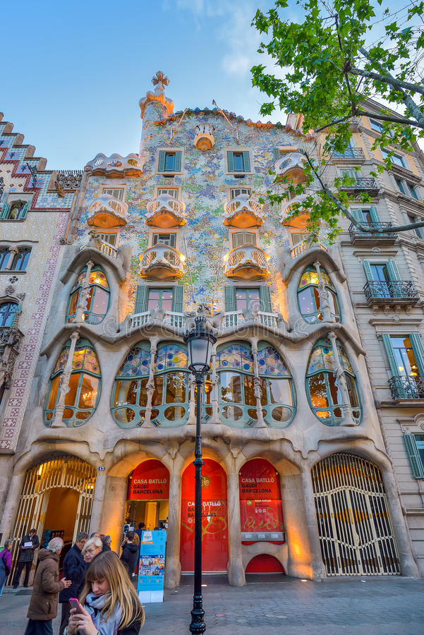 BARCELONA, SPAIN - APRIL 28: Exterior of the Gaudi Casa Batllo on April 28, 2016 in Barcelona, Spain. Exterior of the Gaudi Casa Batllo on April 28, 2016 in royalty free stock photo