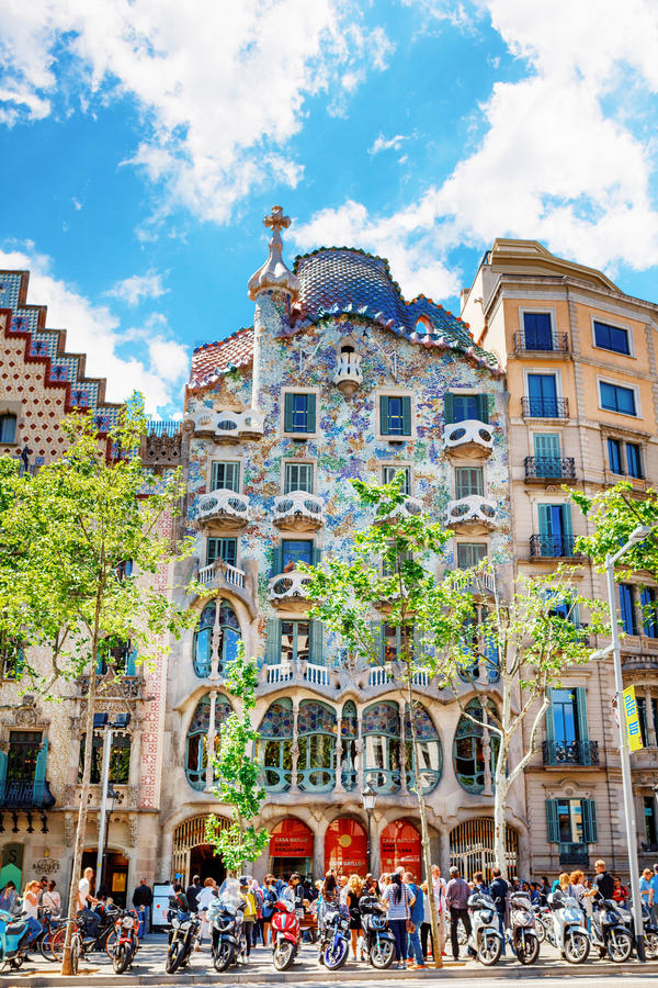 Barcelona, Spain - APRIL 18, 2016: Illa de la Discordia. Facade Casa Batllo, Lleo Morera, Rocamora, Amatller in district of. Incompliance. Passeig de Gracia royalty free stock photo