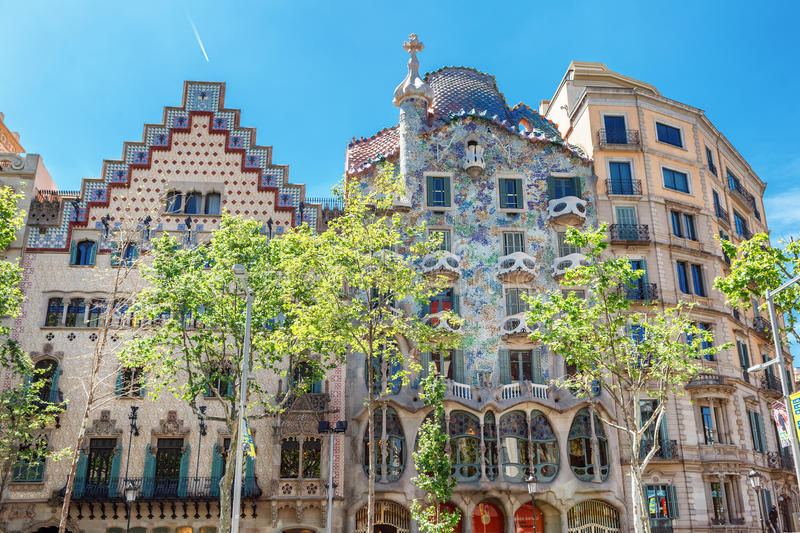 Barcelona, Spain - APRIL 18, 2016: Illa de la Discordia. Facade Casa Batllo, Lleo Morera, Rocamora, Amatller in district of. Incompliance. Passeig de Gracia royalty free stock photos