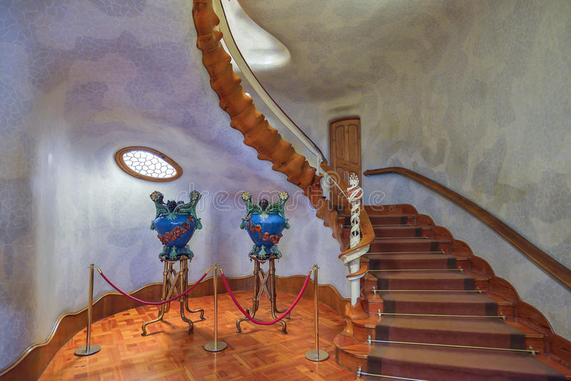 BARCELONA, SPAIN - APRIL 28: Interior of the Casa Batllo in Barcelona on April 28, 2016 in Barcelona, Spain. Interior of the Casa Batllo in Barcelona on April 28 royalty free stock photography