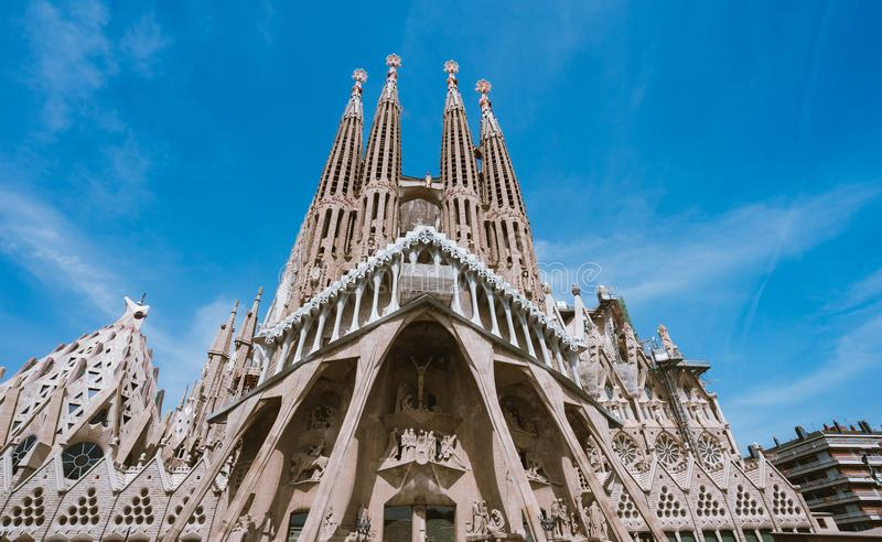 BARCELONA, SPAIN - April 25, 2018: La Sagrada Familia - the impressive cathedral designed by Gaudi, which is being build stock photos