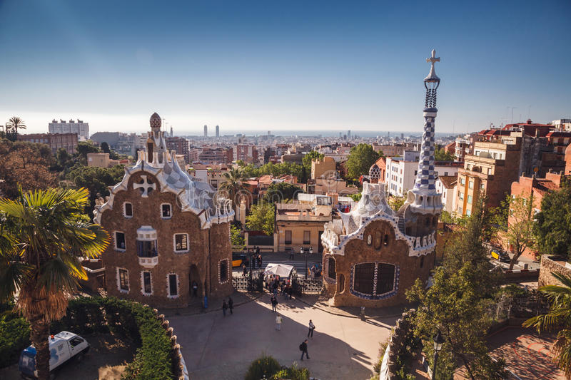 BARCELONA, SPAIN - APRIL 23, 2016: Park Guell by architect Anton stock images