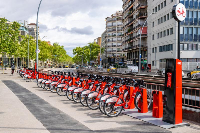 Red bicycles for rent stock photo