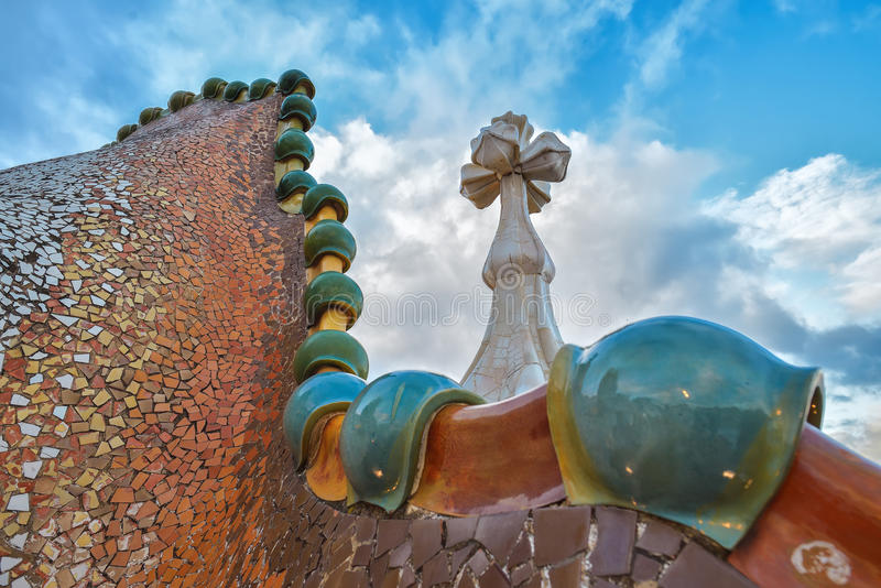 BARCELONA, SPAIN - APRIL 28: Roof terrace of the Casa Batllo on April 28, 2016 in Barcelona, Spain. Roof terrace of the Casa Batllo on April 28, 2016 in royalty free stock image