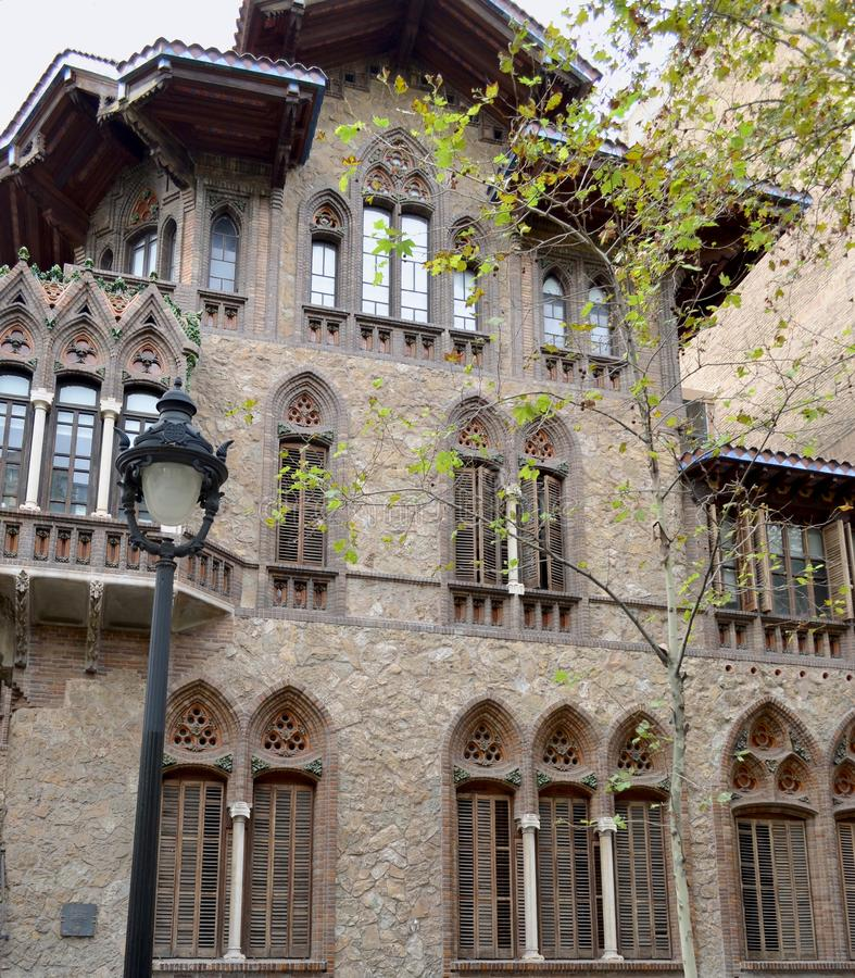 Barcelona. Spain. Architectural details of the central street of the city. stock photo