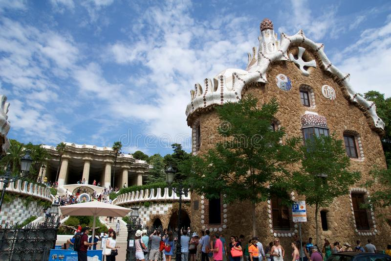 BARCELONA, SPAIN - AUG 30th, 2017: View of the entrance to the Park Guell by Antoni Gaudi, Catalonia stock photos