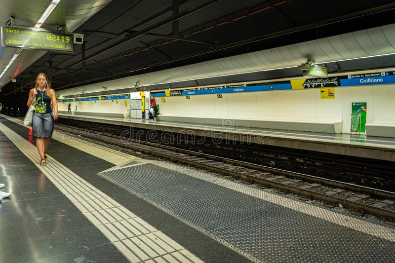 Barcelona, Spain. August 2019. Barcelona Collblanc platfrom in metro station stock photo