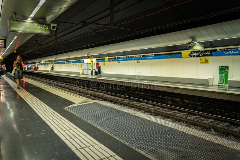 Barcelona, Spain. August 2019. Barcelona Collblanc platfrom in metro station royalty free stock photo