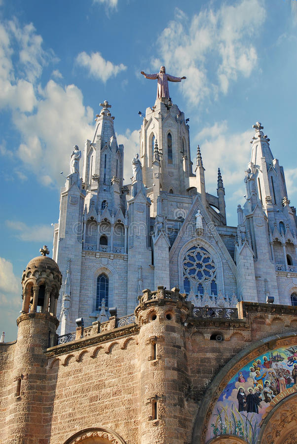 BARCELONA, SPAIN - AUGUST 11: Expiatory church of the Sacred Heart of Jesus on mountain Tibidabo on August 11, 2011 in stock photo