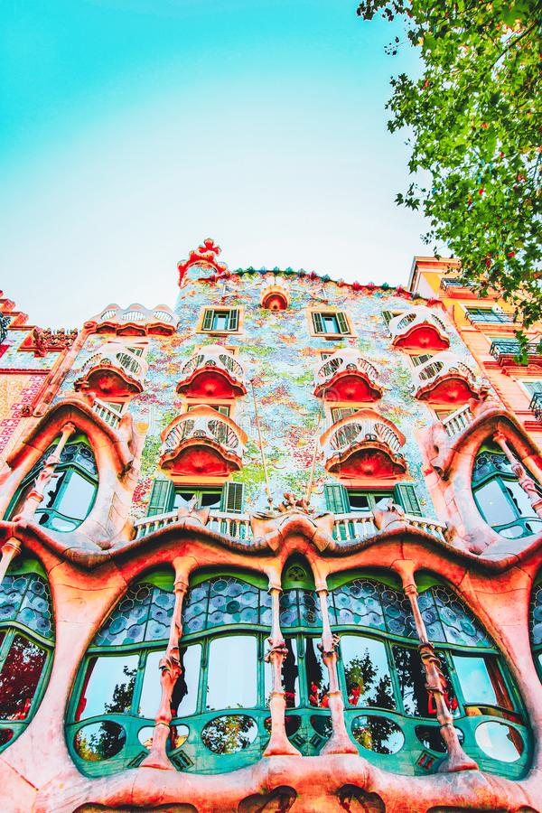 Barcelona, Spain - August 14, 2011: Facade of Casa Batllo building in Barcelona in Spain. It is also called as House of Bones. It royalty free stock images