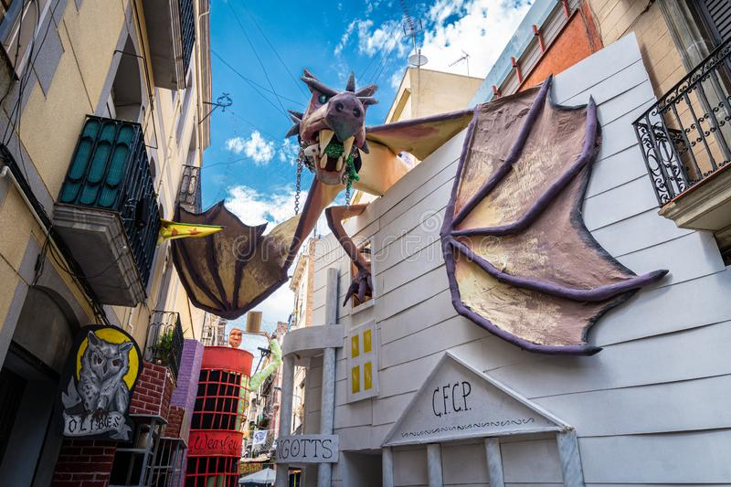 Barcelona, Spain. August 2019: Harry Potter recreation in a street of Gracia Street Festival in Barcelona. stock photos