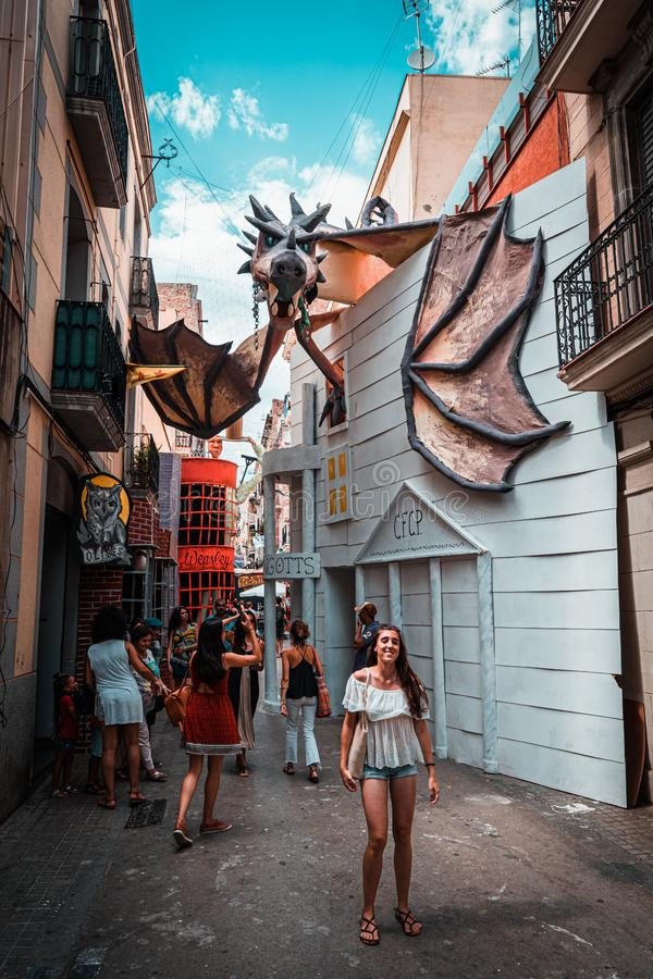 Barcelona, Spain. August 2019: Harry Potter recreation in a street of Gracia Street Festival in Barcelona. royalty free stock images