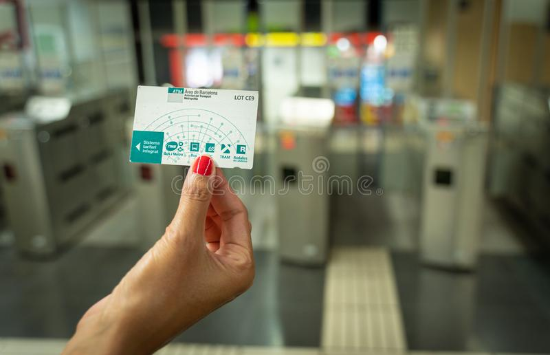 Barcelona, Spain. August 2019: Hand with Public transport card T10 of Barcelona. royalty free stock photo