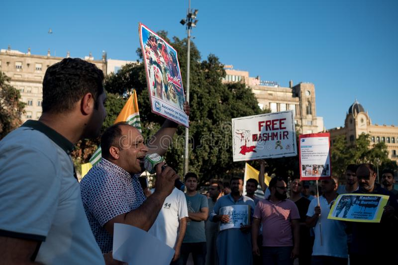 Barcelona, Spain - 10 august 2019: Kashmir and pakistani nationals protest and demonstrate against indian revoke of autonomous royalty free stock image